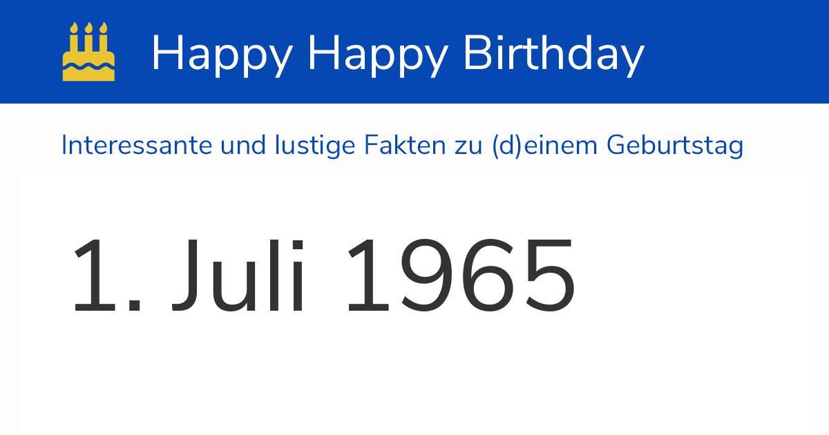 1. Juli 1965 (Donnerstag): Geburtstag, Sternzeichen