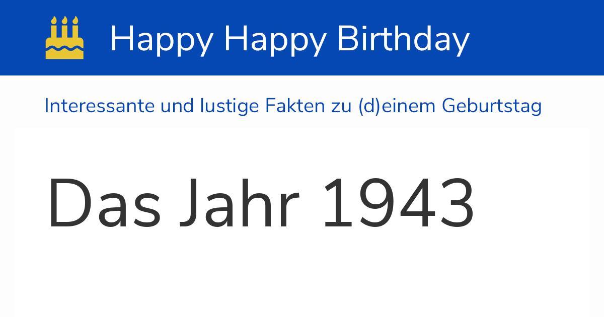 Das Jahr 1943: Kalender, Chronik und Geburtstage