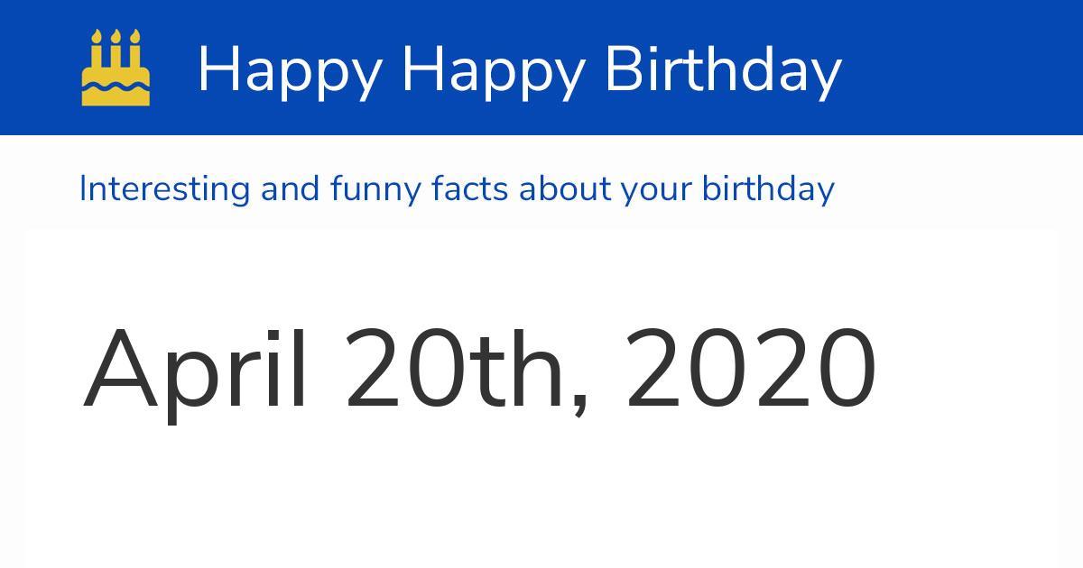 20th of april 2020