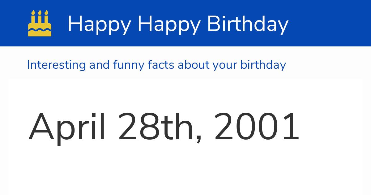 april 28 2001
